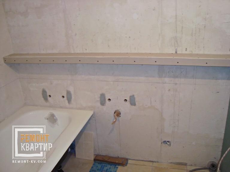 Полочка из гипсокартона в ванной